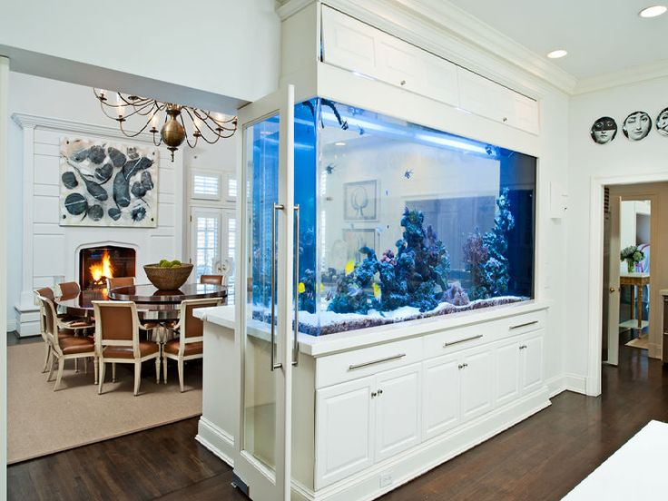 Huge fish tank separating dining room from kitchen