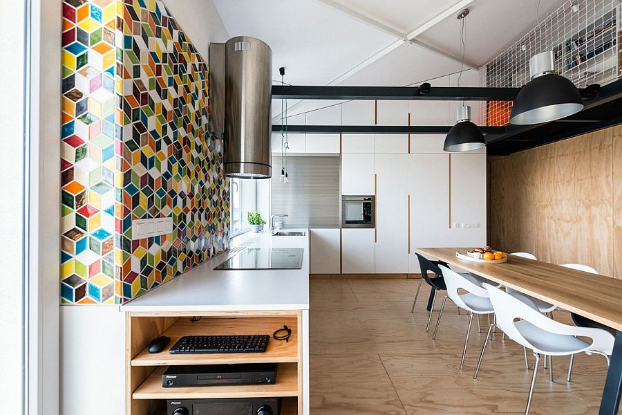 Industrial kitchen combines color with funtionality