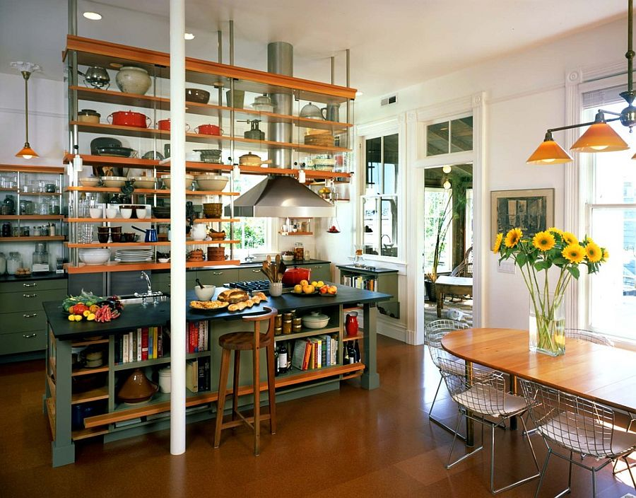 Industrial kitchen with ceiling-hung shelves and an island with open shelves as well! [Design: Actual-Size Architecture]
