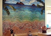Intricate beach mosaic backsplash