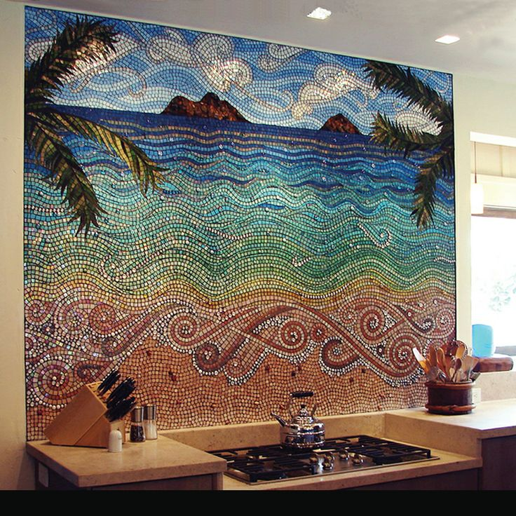 Intricate beach mosaic backsplash