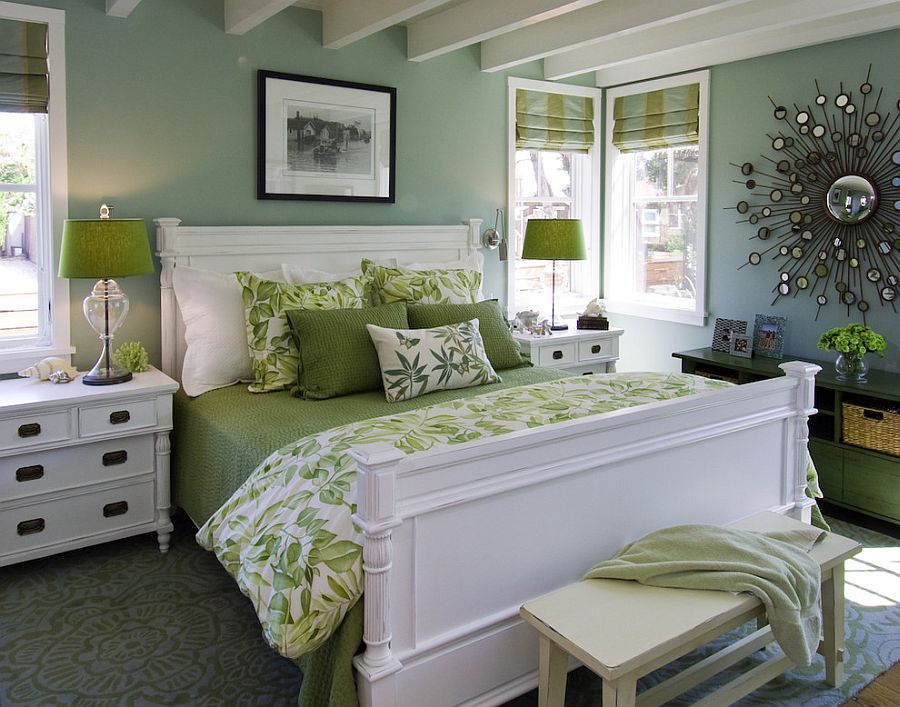 Jade and green come together in breezy beach style bedroom [Design: Viscusi Elson Interior Design]