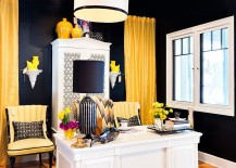 Jet black coupled with vivacious yellow in the home office