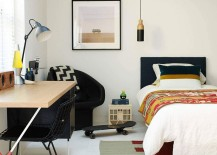Kids bedroom design with minimal style and a small workstation