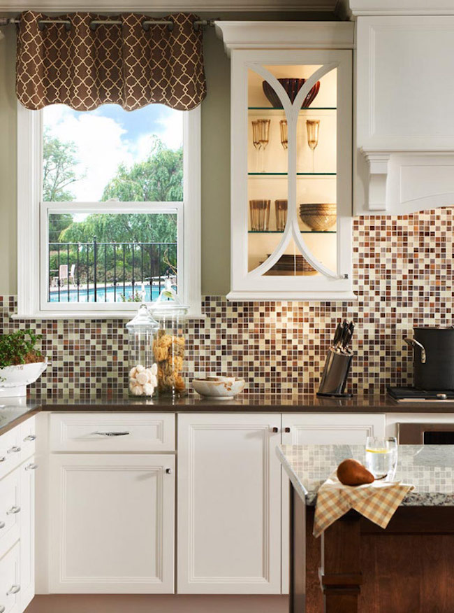View in gallery Kitchen backsplash with different shades of brown and neutral colors & 18 Gleaming Mosaic Kitchen Backsplash Designs