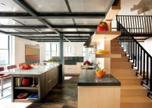 Kitchen-ceiling-crafted-using-perforated-aluminum-panels-and-steel-structural-beams-217x155