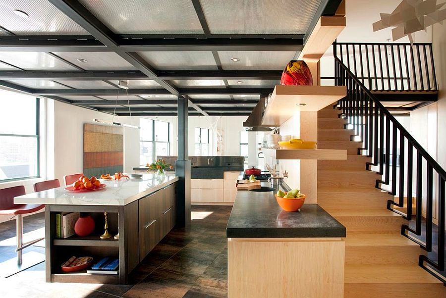 Kitchen ceiling crafted using perforated aluminum panels and steel structural beams [Design: Eck MacNeely Architects]