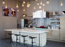 Kitchen in gray with brilliant yet simple pendant lighting