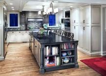 Kitchen island in gray with granite worktop [Design: jordan peterson interior design]