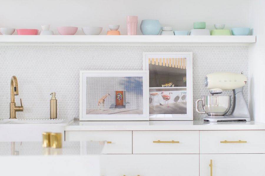 Kitchen shelving in the studio of Sugar & Cloth