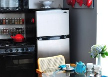 Kitchenware-adds-bright-red-to-the-small-kitchen-in-black-and-gray-217x155