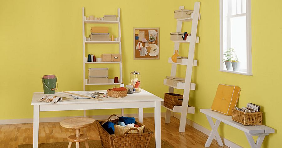 Ladder shelves make a smart addition to the modern home office