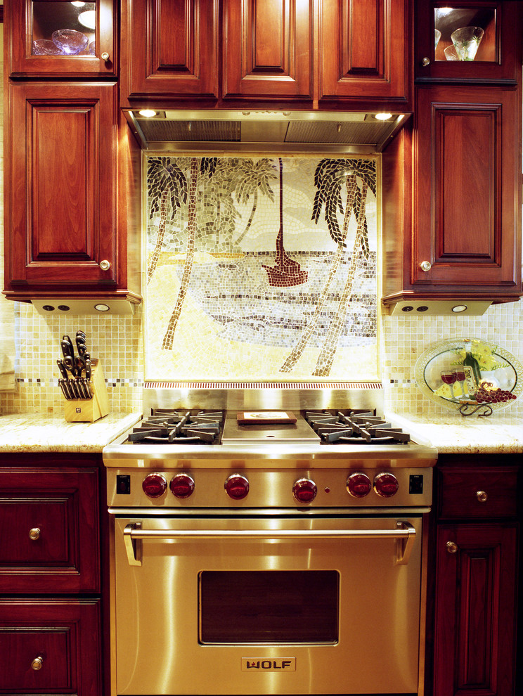 Large beach mosiac image for kitchen backsplash