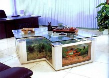 Large coffee table with built-in aquarium