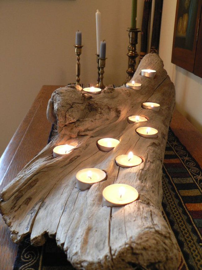 8 Easy DIY Wood Candle Holders for Some Rustic Warmth This  : Large driftwood candle holder from www.decoist.com size 650 x 867 jpeg 94kB