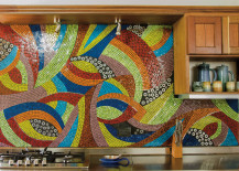 Large mosaic backsplash in very bright colors