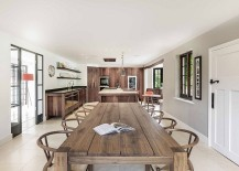 Large wooden dining table and classic wishbone chairs