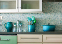 Light blue and turquoise mosaic tile kitchen backsplash 217x155 18 Gleaming Mosaic Kitchen Backsplash Designs
