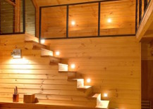 Lights along every step of a cabin:loft
