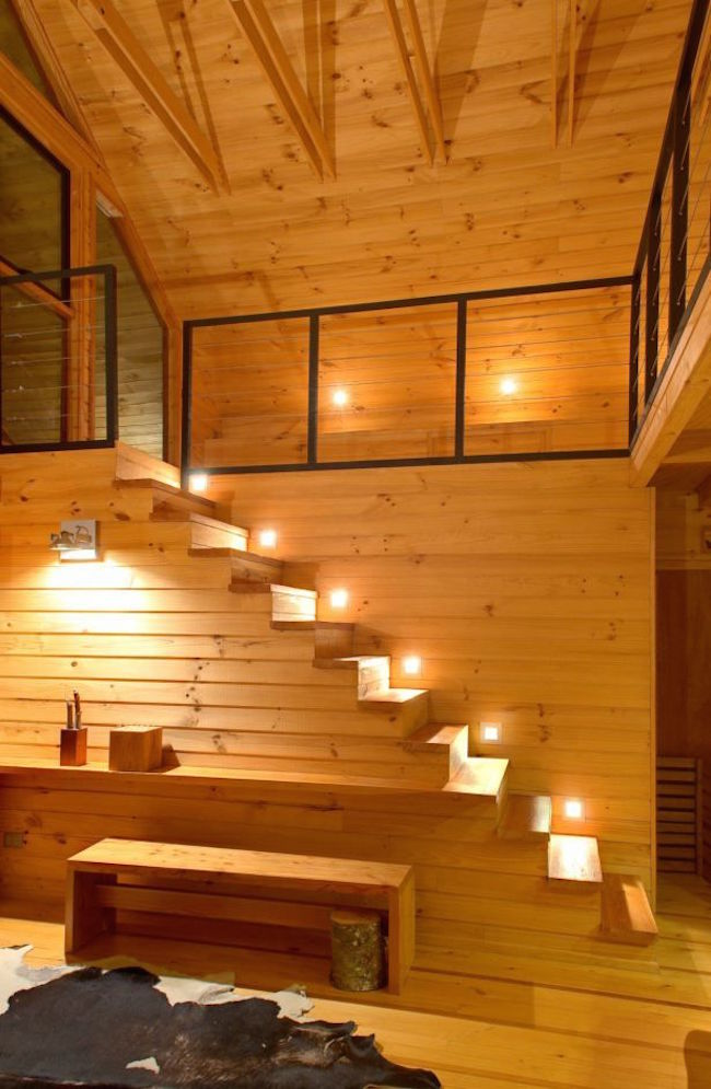 Lights along every step of a cabin/loft