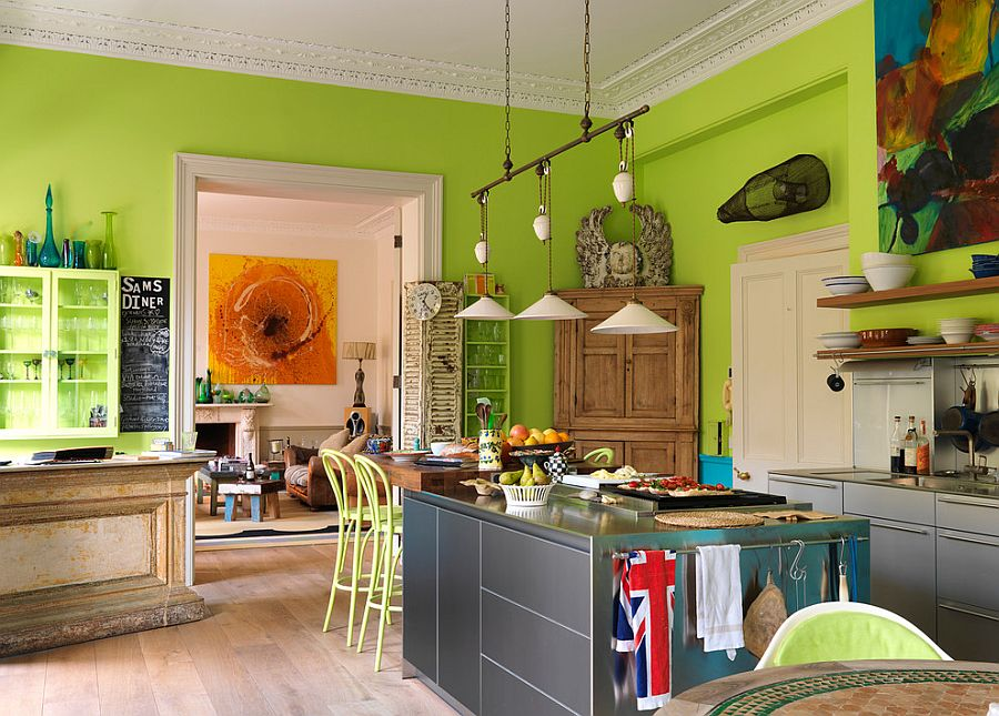 Lime green brings energetic vibe to the modern kitchen [Design: Drummonds Bathrooms]