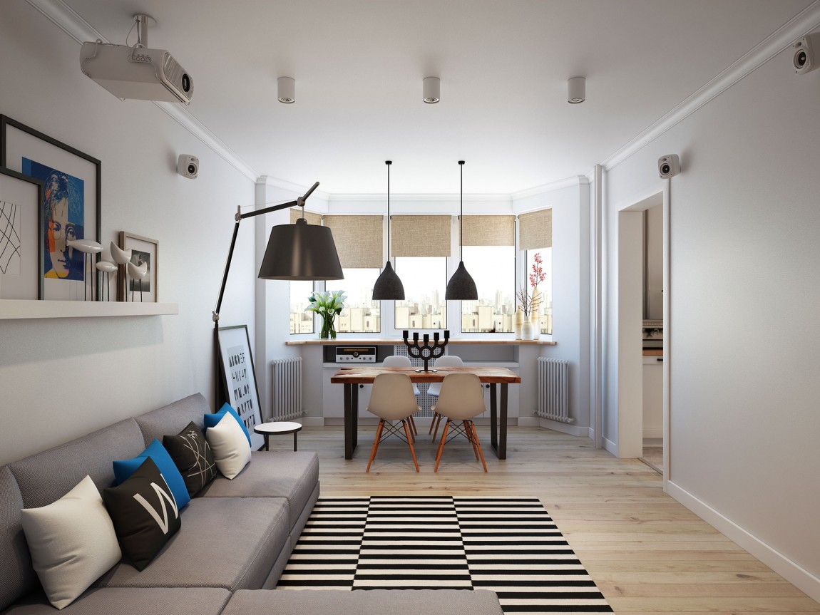 Going scandinavian in style space savvy apartment in moscow Wohnzimmer scandi style