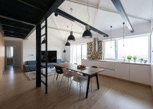 Loft apartment with dining, kitchen and living space rolled into one