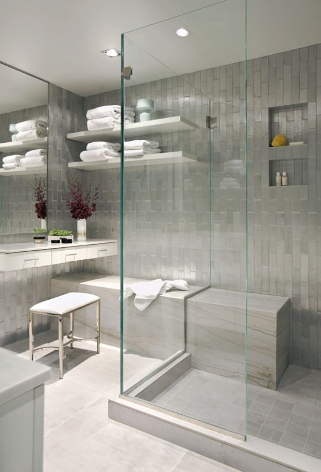 Long bench extending into the walk-in shower