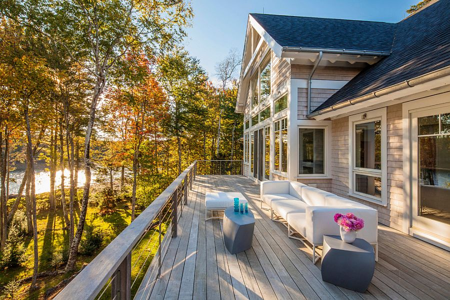 long wooden deck makes clever use of the available space design phi home designs - Phi Home Designs