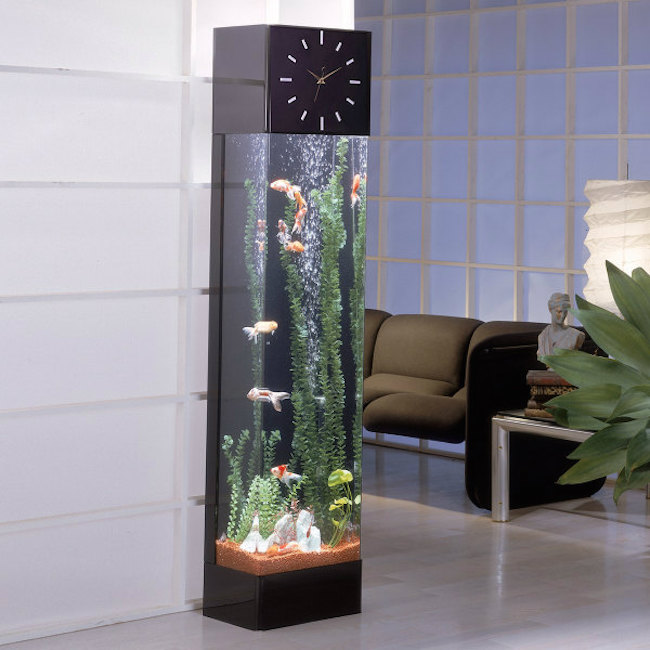 Longcase clock featuring vertical aquarium