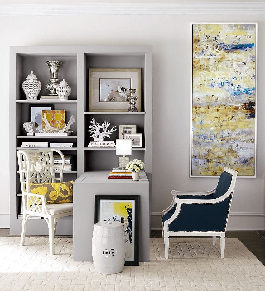 Lovely balance between traditional and modern styles created by home office décor [Design: Horchow]