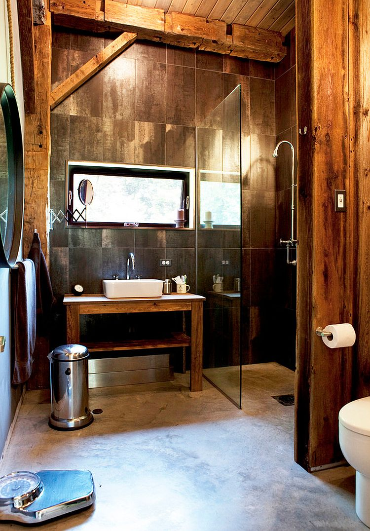 Lovely rustic bathroom design with reclaimed wooden vanity