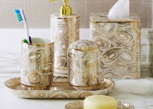 Malachite bath accessories from Jonathan Adler