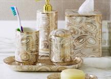 Malachite bath accessories from Jonathan Adler