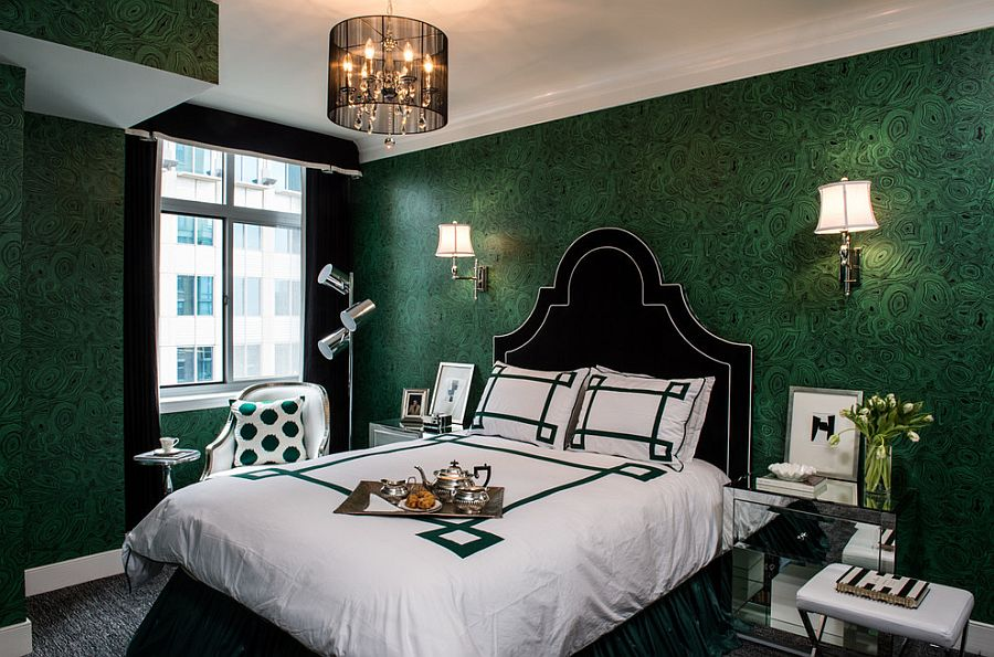 Malachite wallpaper brings emerald green to the contemporary bedroom [Design: Erika Bonnell Interiors]