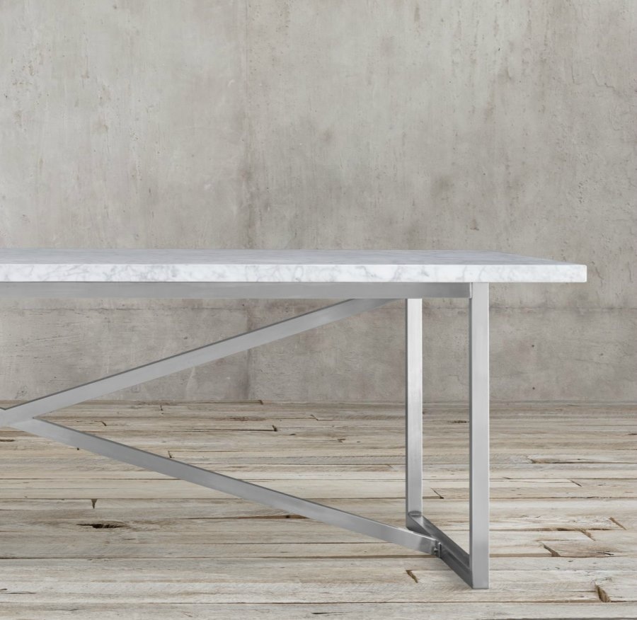 Stainless steel dining table - View In Gallery Marble And Stainless Steel Dining Table From Restoration Hardware
