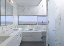 Marble bathroom with a sea view