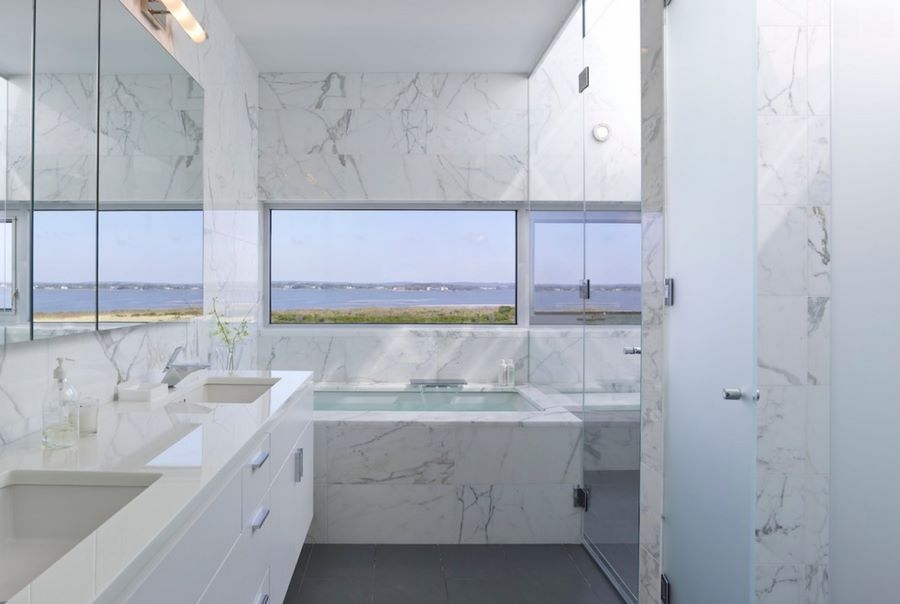 View In Gallery Marble Bathroom With A Sea View