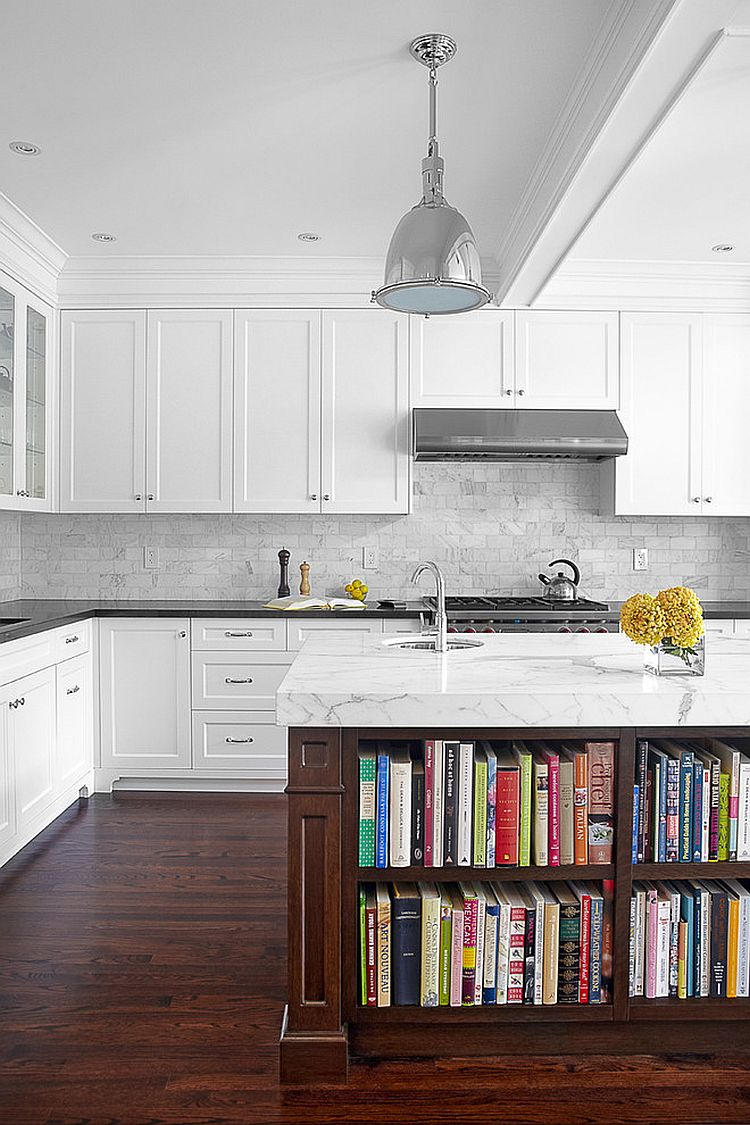 Marble top kitchen island offers ample space for your kitchen cookbooks [Design: Palmerston Design Consultants]