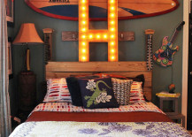 Marquee letter used above bed headboard