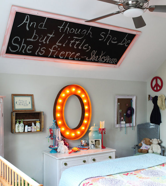 Marquee letter used as wall art above dresser