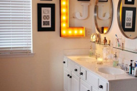 Marquee letter used in a bathroom  22 Illuminating Vintage Marquee Lighting Ideas Marquee letter used in a bathroom 270x180