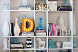 Marquee letter used on a bookshelf unit  22 Illuminating Vintage Marquee Lighting Ideas Marquee letter used on a bookshelf unit 270x180