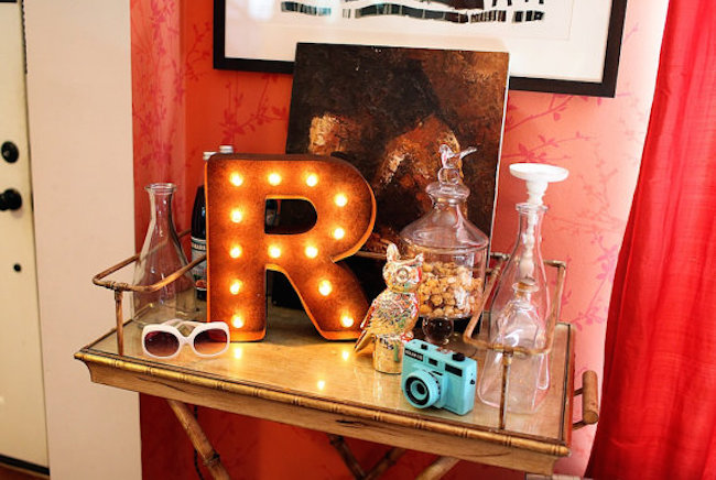 Marquee letter used to accessorize