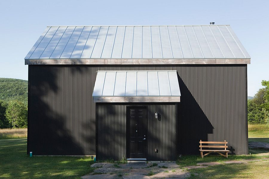 Metallic exterior of the home in black