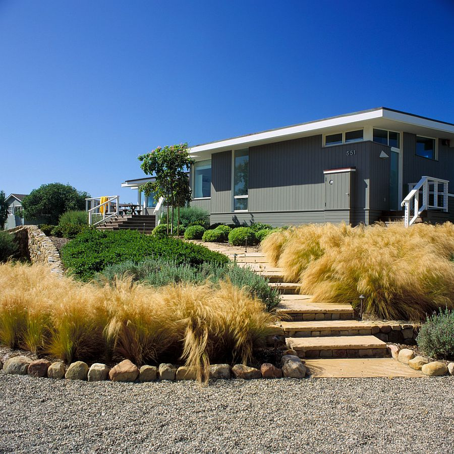 Mexican feather grass shapes the gorgeous landscape around the beach style retreat