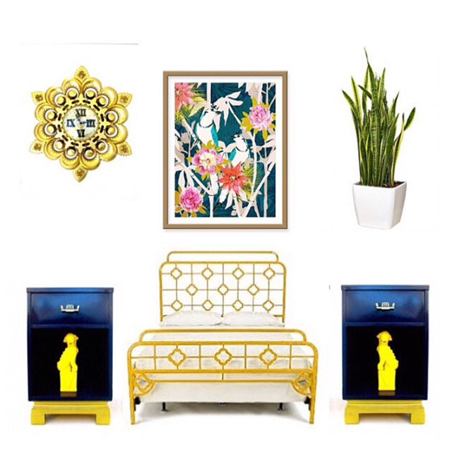 Mid-Century Indigo & Gold Pagoda Style Bedside Tables