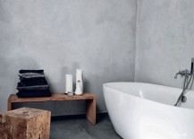 Minimalist-bathroom-with-rustic-wood-bench-and-stool-217x155
