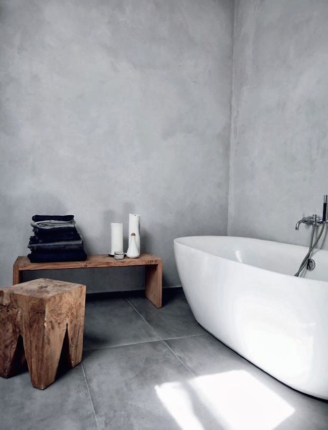 ... Minimalist Bathroom With Rustic Wood Bench And Stool