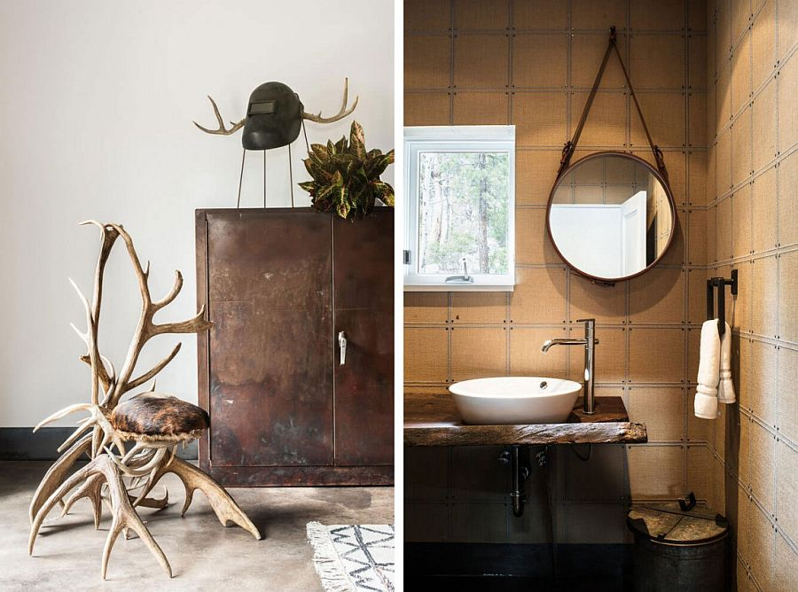 Mirror by Jacques Adnet and custom Union Square wallpaper in the powder room